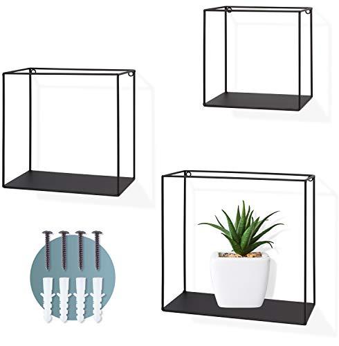 BENICO ® - Juego de 3 estantes de pared de metal negro - Estantería flotante con tacos y tornillos - Estantería colgante de diseño industrial - Estantería decorativa de pared hasta 5 kg