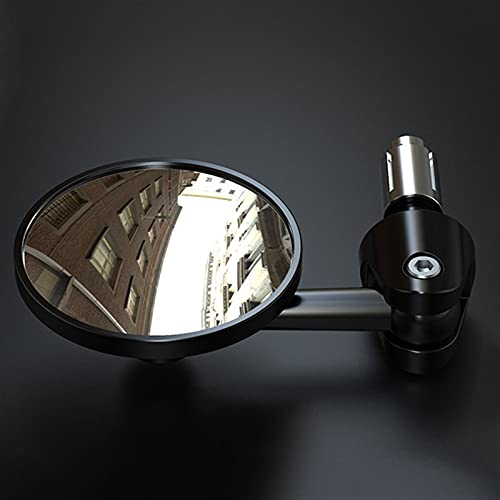 Espejos Laterales Motos Espejo Universal para Motocicleta, Aluminio, Negro, Vista Trasera, Barra De La Manija, Retrovisor Lateral, Espejos Planos Convexos para H-o-n-d-a