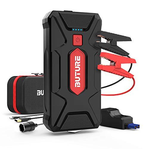 BuTure 1600A Arrancador de Coches, 20000mAh Arrancador de Baterias de Coche para 8.0L Gasolina o 7.0L Diesel, con Carga 3.0, USB-C, EC5 Adaptador. (Rojo)