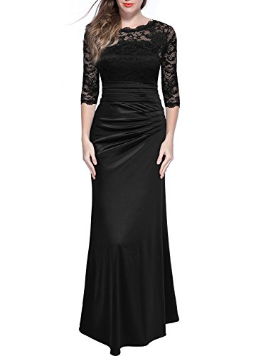 Miusol Women's Retro Floral Lace Vintage 2/3 Sleeve Slim Ruched Wedding Maxi Dress,X-Large,Black