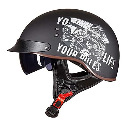 SPOTOR Retro con Visera Motocicleta Half-Helmet Cruiser Chopper Scooter Casco Casco Seguridad...