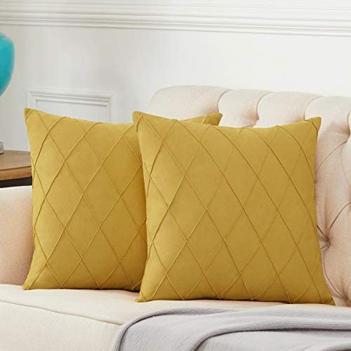 Longhui bedding Mustard Yellow Throw Pillow Covers for Couch Sofa Bed Cotton Linen Decorative product image