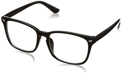 【目元にメリハリを】 伊達メガネ メンズ デザイナーズ ファッション伊達眼鏡 ブルーライトカット PCメガネ ウェリントン UVカット [福岡発のアイウェアブランドFREESE](ブラック)