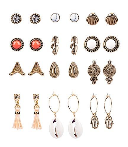SIX 12er Set Ohrringe im Festival Style, Stecker und Hänger mit Tasseln und Muscheln und Strasssteinen in antikem gold (795-204)