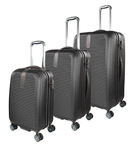 Traveller Hartschalen Kofferset Rome (S, M & L) - 4 Rollen 3er Reisekoffer Set, Schwarz mit TSA Zahlenschloss