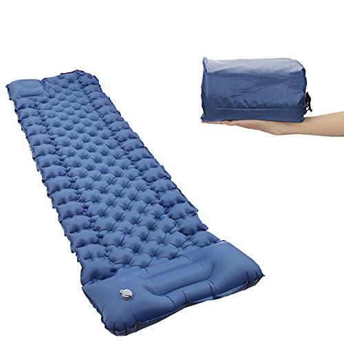 Esterilla autoinflable para camping con almohada, alfombrilla de dormir antideslizante impermeable y portátil, adecuada para camping, senderismo