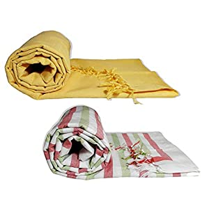 Riyashree Organic Cotton Silky Soft Bhagalpuri Dull chadar lite Blanket & Duvet ( 52*94 in ) Combo Pack of 2 Dull 09 14