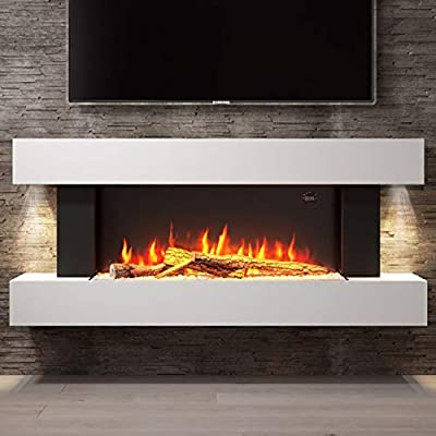 Amberglo White Wall Mounted Electric Fireplace Suite with Log & Pebble Fuel Bed