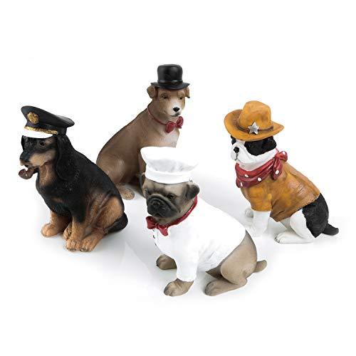 Logbuch-Verlag 4 figuras de Cowboy Sheriff Koch, 12 cm, figuras decorativas de animales como pequeño regalo para dueños de perros