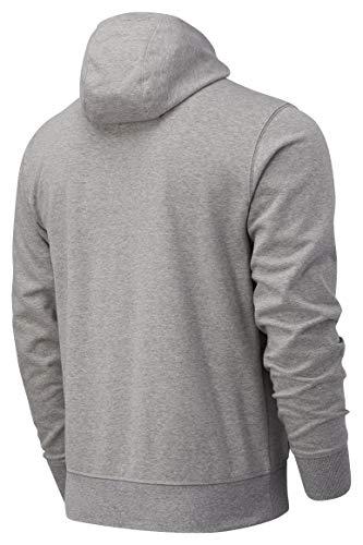 New Balance Herren Zipper Essentials Stacked Full Zip Hood MJ03558 AG Grau, Größe:L