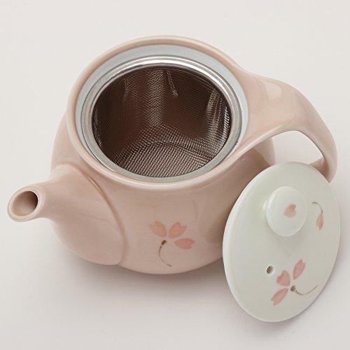 後引きしにくく、そそぎやすい有田焼釉桜U型茶漉し付きポット急須ピンク(450cc)