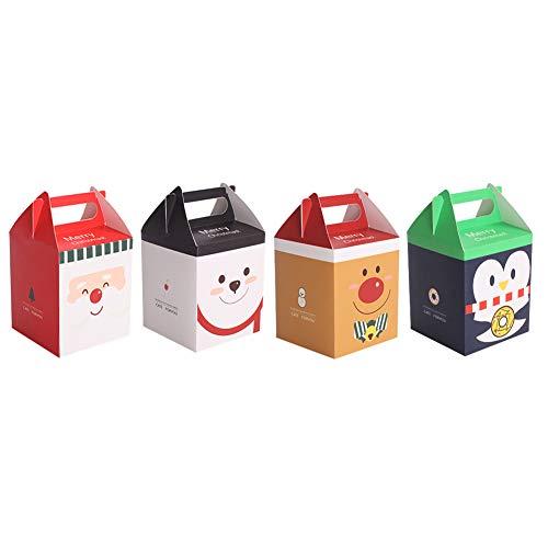 Gukasxi 24 Cajas de Dulces navideños Cajas de Regalos navideños con asa Caja Dibujos Animados Lindo Cajas de cartón para Papel Caja de Nochebuena Favor de Fiesta del Festival