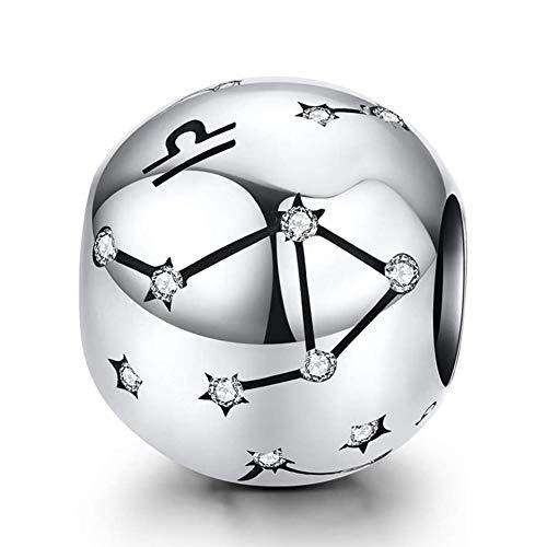 Damen 12 Konstellationen Sternzeichen 925 Sterling Silber Bead Charms Anhänger kompatibel Pandora European Charm Armbänder & Halsketten(Waage (9.23-10.22))