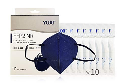 YUXI Mascarillas FFP2 Homologadas, 10 Unidades, Color Azul Marino, CE1463 EN 149:2001 + A1:2009 FFP2 NR