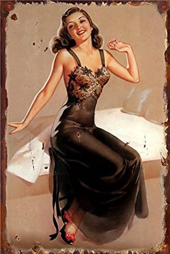 Cartel de Metal Vintage Sexy Cartel de Belleza Sexy Cartel de Chapa Pintura Bar Tienda Bar Hombre decoración de la Pared 20x30 cm 12
