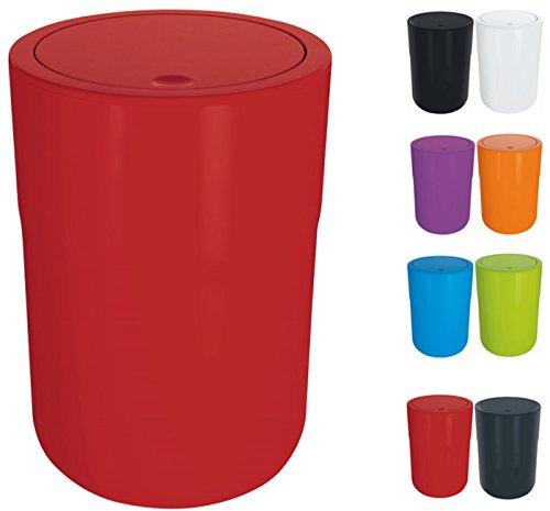 Spirella Design Kosmetikeimer Cocco mit Extra Ring für Müllbeutel Treteimer Schwingdeckeleimer Abfallbehälter mit Schwingdeckel 5 Liter (ØxH): 19 x 26 cm Rot