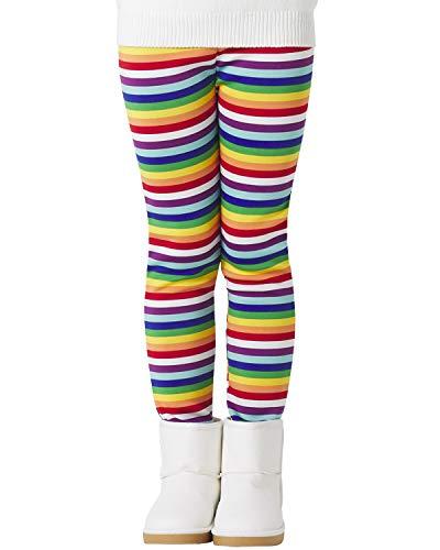 Adorel Mädchen Leggings Winter Dick Gefüttert Hosen Regenbogen Streifen 134 EU (Herstellergröße 140)
