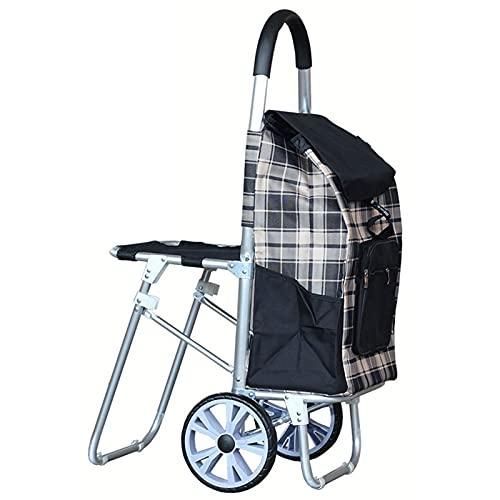 Carro de compras portátil Carrito de la compra de la tela de Oxford con el carro de la aleación de aleación de aleación de aluminio plegable para el hogar, oficina Carrito de compras plegable