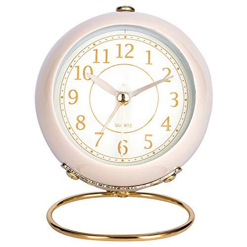 Lafocuse 8.5cm Despertador Analógico Metal con Luz de Noche Reloj de Mesa Silencioso con Vidrio Esférico Beige