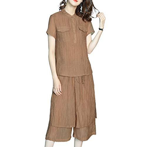 BINGQZ Cocktail Jurken Zomer jurk damespak casual vrouwen casual broek breed been broek + shirt set twee sets