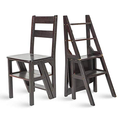 XITER Bambus-Trittleiter-Stuhl, Klappleiter-Trittleiter-Multifunktions-Esszimmerstuhl (Farbe : Schwarz)