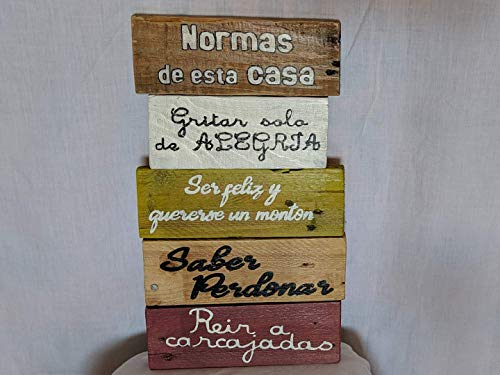 Cartel de madera con las Normas de la casa. Regalos artesanales.