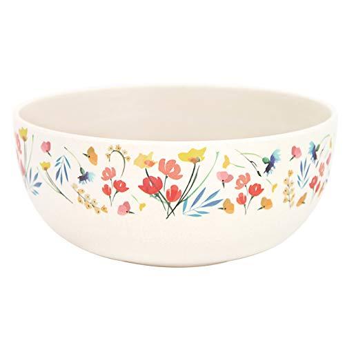 Les Jardins de la Comtesse – Cuencos de bambú – Set de 4 – Ø 15 cm – Diseño de flores de campos – Para pequeños almuerzo, sopa, aperitivo, – Muy resistente, diseño colorido – Vajilla ecológica sin BPA