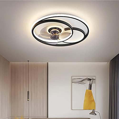 Ventilador de luz de techo LED Luz de techo con iluminación y control remoto Lámpara de techo de velocidad del viento ajustable regulable moderna Comedor Dormitorio Sala de estar Ventilador