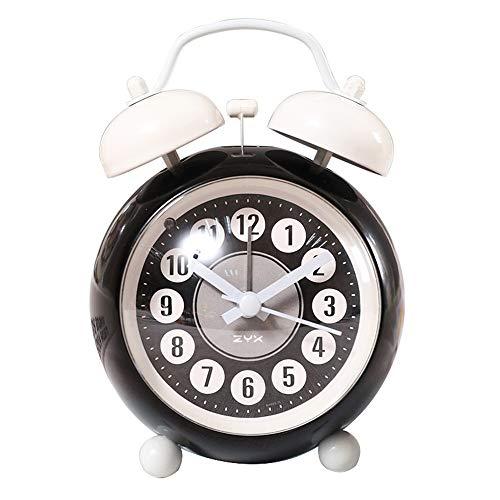 DLSMB-HO wekker met dubbele bel, metaal, wekker, stil, nachtlampje, voor reizen, kantoor, kinderen, slaapkamer
