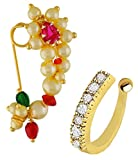VAMA FASHIONS Gold Plated Non-Pierced Nose Ring Pink Colour Stone Along with Pearl Beads for Women - (Medium Size 2.2cm)