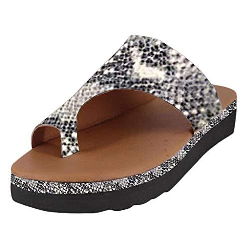 Zapatillas Mujer Pisos Cuñas Zapatos de Playa con Punta Abierta Tobillo Zapatillas Romanas Sandalias Moda para Mujer Retro Sandalias Gruesas y Zapatillas Zoelove