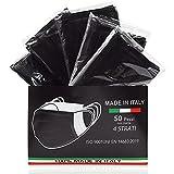 50 Pezzi MADE IN ITALY Mascherine Nere protettiva colorata personale 4 strati CE tipo IIR, Nasello Regolabile, Pacchi individuali (Nero)