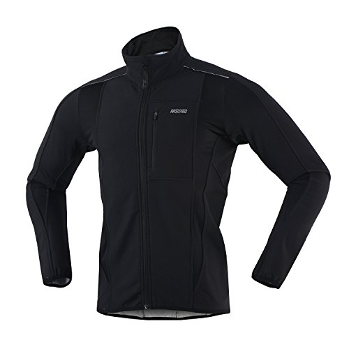 ARSUXEO Winter Warm UP Thermal Softshell Cycling Jacket Windproof Waterproof Bicycle MTB Mountain Bike Clothes 15-K Black Size Large