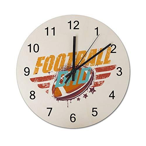 Free Brand Reloj redondo de madera para colgar, diseño de futbolín, moderno, simple, para interior, silencioso, para salón, comedor, cocina, decoración