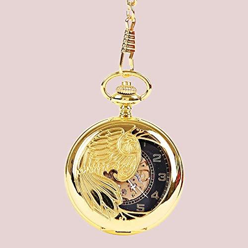 J-Love Reloj de Bolsillo Dorado Retro Perspectiva Esqueleto Dorado Caja con patrón de fénix Esfera Hueca Colgante Valor de Moda Mesa de Regalo