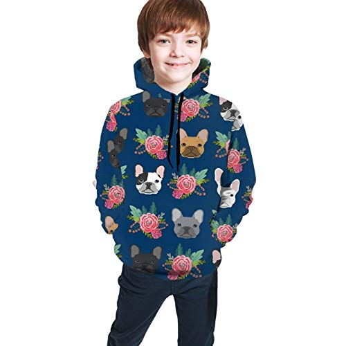 NiYoung Boy and Girl French Bulldog Flowers Pullover Hoodies Good-Looking Hooded Hoodie Casual Pullover Hoodies Breathable Tunic Top Blouse