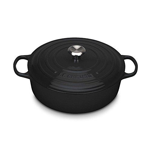 Le Creuset 21179300000430 Gourmet Bräter, Gusseisen, emailliert Inhalt 6,2 L, schwarz, rund 30 cm
