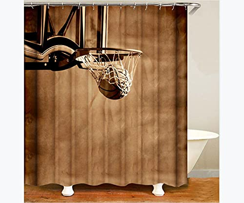 XUSANSHI Cortina de Ducha Impermeable con impresión Baloncesto Retro Cortinas de baño Divertidas Poliéster Impermeable con 12 Ganchos Resistente al Moho Máquina Lavable 180x200cm