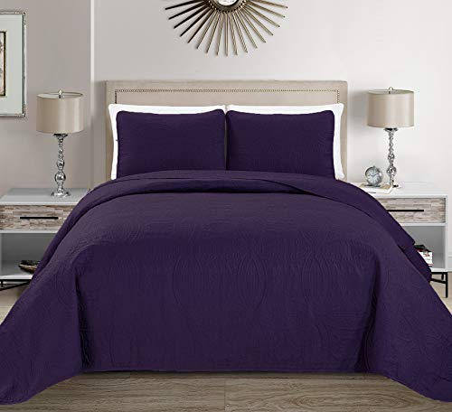 MK Home Mk Collection Solid Embossed Bedspread Bed Cover Over Size (Dark Purple, King/California King)