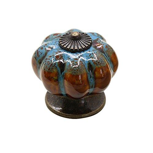 Fenteer Keramik Runde Kürbis Tür Schrank Griff Möbelgriffe Möbelknöpfe Möbelknauf - Blau
