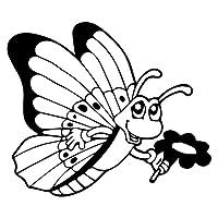 素敵なステッカー 15cm X 12.9cmの車のステッカー子供の蝶の花ビニールデカールの装飾C24-0319 車のステッカー (Color : BLACK)