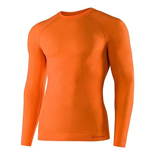 BRUBECK Homme Maillot de Corps Fonctionnel | Manches Longues | Respirant | Thermo | Sport | sous-vêtement | 41% Laine Mérinos | LS12820 L Orangé