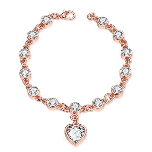 B.Z La Vie Bransoletka damska 19,7 cm, różowe złoto, cyrkonia, elegancki prezent dla kobiet