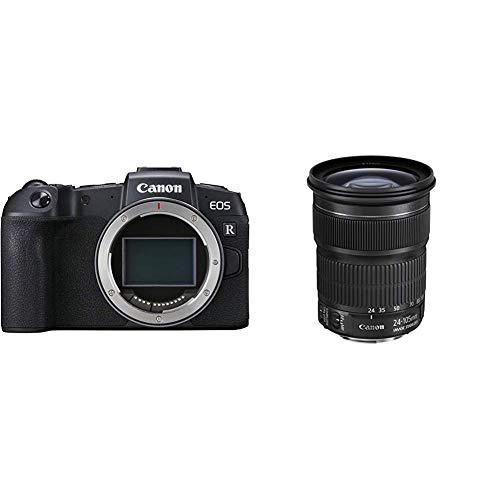 Canon EOS RP Systemkamera - mit Vollformat-Sensor + Adapter EF-EOS R (spiegellos, 26,2 MP, 7,5cm (3 Zoll)), schwarz & Zoomobjektiv EF 24-105mm F3.5-5.6 is STM für EOS (77mm Filtergewinde), schwarz