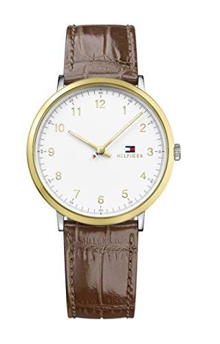 Tommy Hilfiger Relógio masculino sofisticado de quartzo esportivo de aço inoxidável com pulseira de couro de bezerro, marrom, 20 (modelo: 1791340)