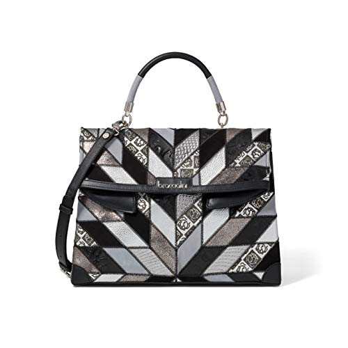Braccialini Damen-Tasche Naomi Patch aus Leder schwarz 37 x 25 x 15 cm