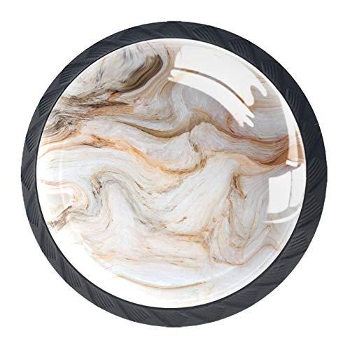 4 pomelli per porte di armadietto, cassetti, maniglie per cassetti, maniglie in marmo bianco marrone