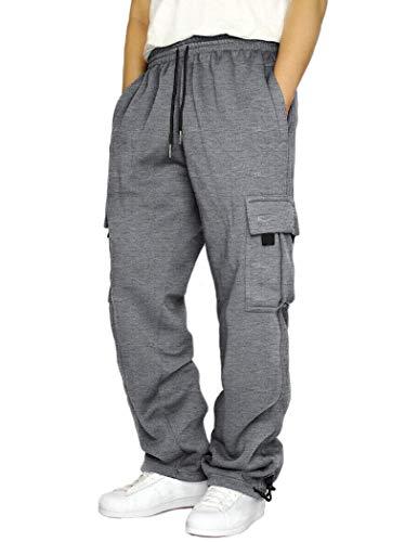 COOFANDY Men's Elastic Waist Pants Casual Regular Fit Workwear Cargo Pants Grey