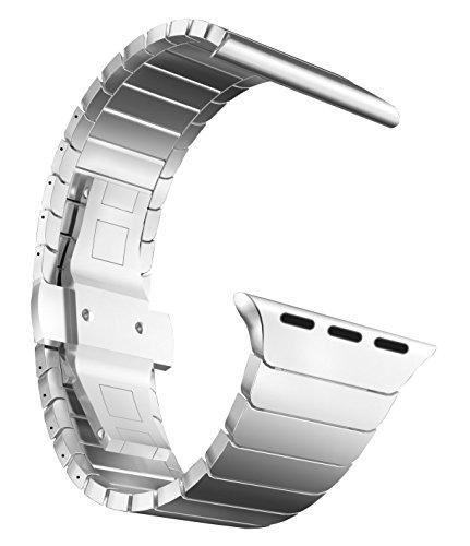 MaKTech Correa de Eslabones de Acero Inoxidable Metal Pulsera Brazalete Compatible con Apple Watch Serie 6/SE/5/4/3 (44mm/42mm,Plata)