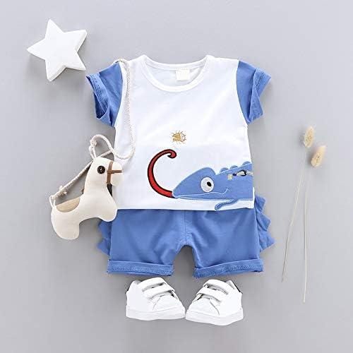 Summer Boy Cartoon Lizard Print Stripe T-Shirt Shorts Casual Short Sleeve Outfits Children's Clothing Set (Blue, 3T)